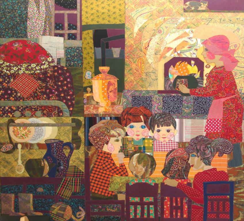 коллаж из текстильных материалов фото